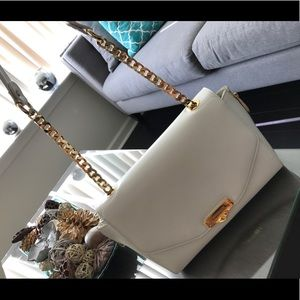 White leather Versace bag with gold chain